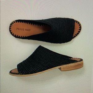 Black Open Toe Slide